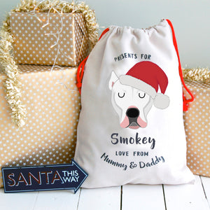 Dogo Argentino Personalised Christmas Present Sack  - Hoobynoo - Personalised Pet Tags and Gifts