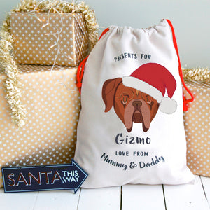 Dogue De Bodeaux Personalised Christmas Present Sack  - Hoobynoo - Personalised Pet Tags and Gifts