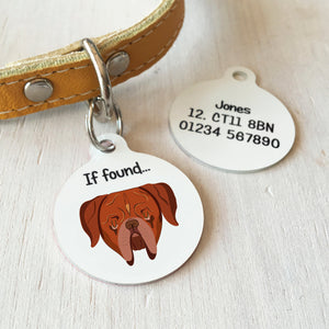 Dogue De Bordeaux Personalised name ID Tag - White  - Hoobynoo - Personalised Pet Tags and Gifts