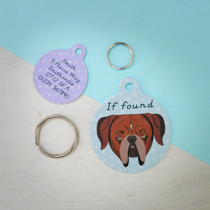 Dogue de Bordeaux Personalised Dog ID Tag  - Hoobynoo - Personalised Pet Tags and Gifts