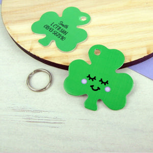 Personalised Happy Shamrock Pet ID Tag  - Hoobynoo - Personalised Pet Tags and Gifts