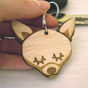 Chihuahua Wooden Keyring  - Hoobynoo - Personalised Pet Tags and Gifts