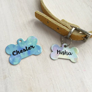 Watercolour Bone ID Tag