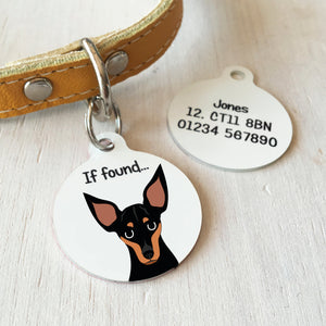 English Toy Terrier Personalised name ID Tag - White  - Hoobynoo - Personalised Pet Tags and Gifts
