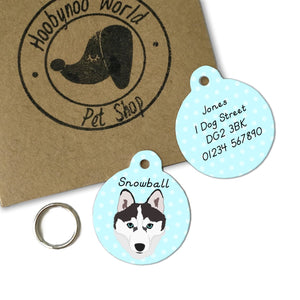 Siberian Husky Personalised Dog ID Tag  - Hoobynoo - Personalised Pet Tags and Gifts