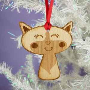 Black and White Cat Wooden Christmas Decoration  - Hoobynoo - Personalised Pet Tags and Gifts
