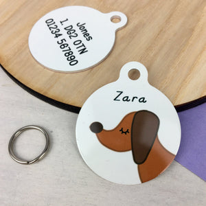 Dachshund Profile Personalised name ID Tag - White  - Hoobynoo - Personalised Pet Tags and Gifts