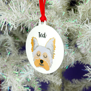 Personalised Yorkshire Terrier Christmas Decoration - Bold  - Hoobynoo - Personalised Pet Tags and Gifts