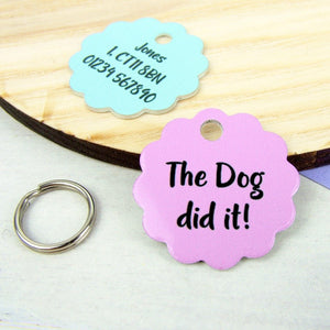 The Dog Did It Slogan pet tag
