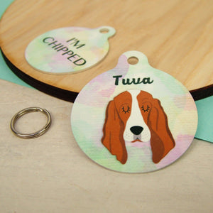 Personalised Basset Hound Dog ID Tag - Watercolour  - Hoobynoo - Personalised Pet Tags and Gifts