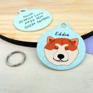 Japanese Akita Personalised Pet ID Dog tag  - Hoobynoo - Personalised Pet Tags and Gifts