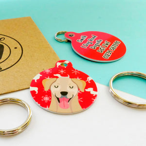 Personalised Dog ID Tag - Festive Print  - Hoobynoo - Personalised Pet Tags and Gifts