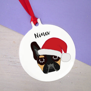Santa Paws French Bulldog Christmas Decoration - Bold  - Hoobynoo - Personalised Pet Tags and Gifts