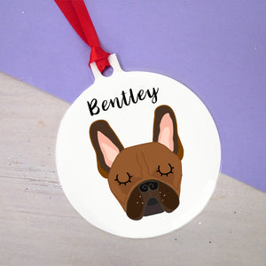 Bold Frenchie Christmas Decoration - French Bulldog Bauble or Star  - Hoobynoo - Personalised Pet Tags and Gifts