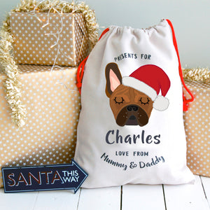 Frenchie Dog Treat in Santa Hat / Christmas Sack