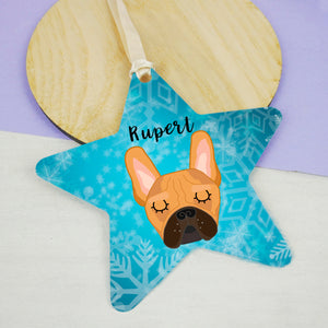 Frenchie Frozen Star Decoration - French Bulldog  - Hoobynoo - Personalised Pet Tags and Gifts
