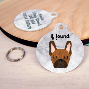 French Bulldog Personalised Dog Tag - Marble  - Hoobynoo - Personalised Pet Tags and Gifts