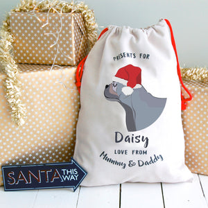 French Bulldog Profile Personalised Christmas Present Sack  - Hoobynoo - Personalised Pet Tags and Gifts