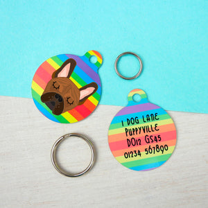 French Bulldog Personalised Rainbow Pet ID Tag  - Hoobynoo - Personalised Pet Tags and Gifts