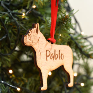 French Bulldog Personalised Wooden Christmas Decoration