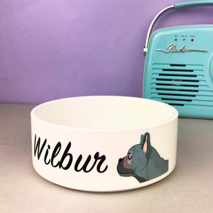 French Bulldog Personalised Ceramic Dog Bowl Frenchie  - Hoobynoo - Personalised Pet Tags and Gifts