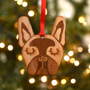Wooden French Bulldog Christmas Ornament