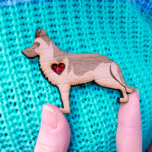German Shepherd Brooch with Glitter Heart Detail