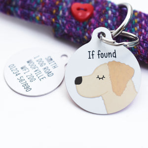 Golden Retriever Personalised Dog Tag - White