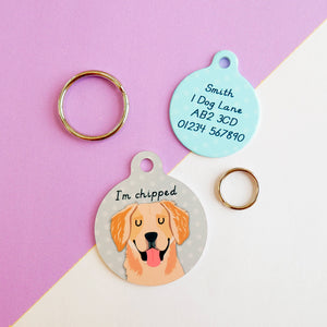 Golden Retriever Portrait Personalised Pet ID Tag  - Hoobynoo - Personalised Pet Tags and Gifts