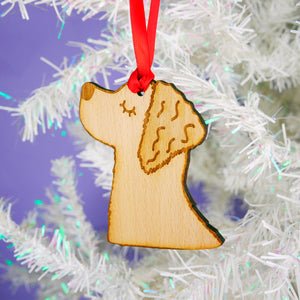 Golden Retriever Wooden Christmas Decoration  - Hoobynoo - Personalised Pet Tags and Gifts