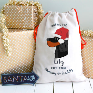 Gordon Setter Personalised Christmas Present Sack