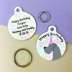 Great Dane Birthday Confetti Dog ID Tag Personalised