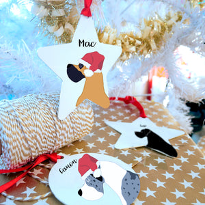 Santa Hat Great Dane Christmas Decoration - Bold Great Dane Bauble or Star Decoration