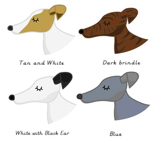 Greyhound/ Whippet Dog name Tag -HEART white