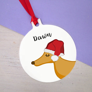 Greyhound in Santa Hat Christmas Decoration Star Bauble  - Hoobynoo - Personalised Pet Tags and Gifts