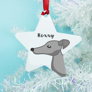 Greyhound Printed Personalised Dog Christmas Decoration Xmas Star  - Hoobynoo - Personalised Pet Tags and Gifts