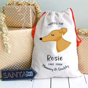 Greyhound Christmas Sack Personalised  - Hoobynoo - Personalised Pet Tags and Gifts