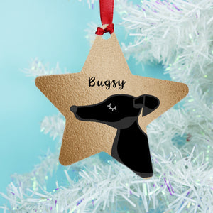 Greyhound Copper Printed Personalised Dog Christmas Decoration Star Bauble