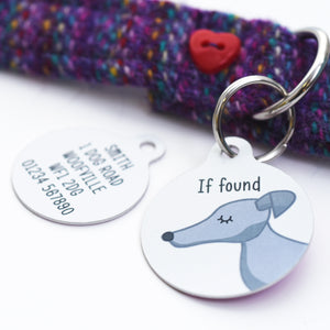 Greyhound / Whippet Personalised Dog Tag - White