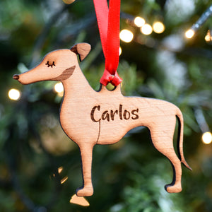 Greyhound Personalised Wooden Christmas Decoration