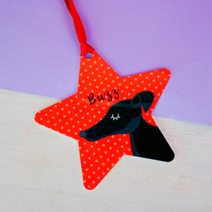 Personalised Greyhound/Whippet Christmas Decoration - Polka Dot