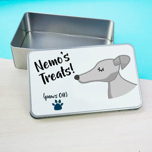 Greyhound Personalised treat tin  - Hoobynoo - Personalised Pet Tags and Gifts