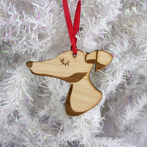 Greyhound/Whippet Wooden Christmas Decoration