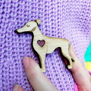 Greyhound/Whippet Brooch with Glitter Heart Detail
