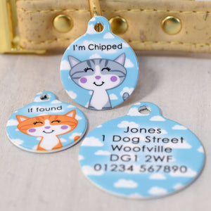 Personalised Happy Clouds Cat Pet Identity Name Tag