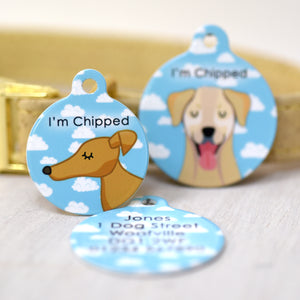 Dog Tag Personalised - Happy Clouds