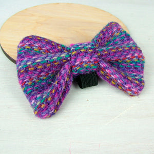 Harris Tweed Bow Tie - Rainbow (Purple)  - Hoobynoo - Personalised Pet Tags and Gifts