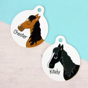 Horse Personalised Bridle Tag - White
