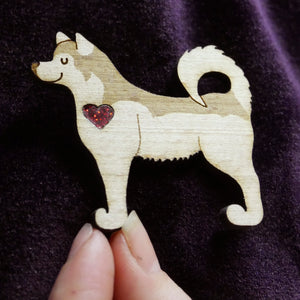 Husky Wooden Brooch with Glitter Heart Detail
