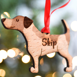 Personalised Jack Russell Wooden Christmas Decoration